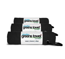 3 Pack of Jet Black Microfiber Golf Towels