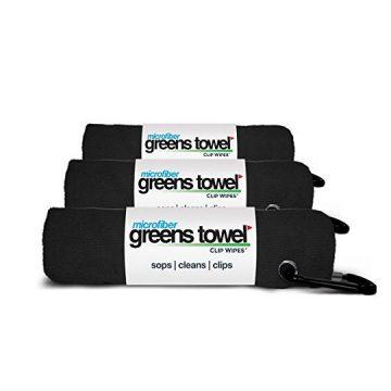 3 Pack of Jet Black Microfiber Golf Towels