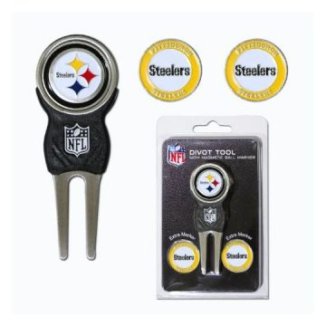 NFL Pittsburgh Steelers Divot Tool Pack With 3 Golf Ball Markers