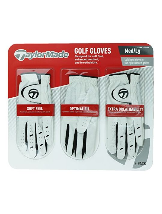 TaylorMade Men Golf Gloves Leather Palm Patch 3 Pack
