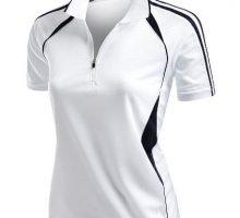 Womens Coolmax Sporty Fill Zipup Short sleeve Polo TShirt WHITE L
