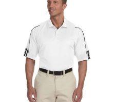 Adidas Men 3Stripes Contrast Piping Polo Shirt White  Black XLarge