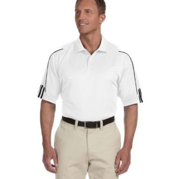 Adidas Men 3Stripes Contrast Piping Polo Shirt White  Black XLarge