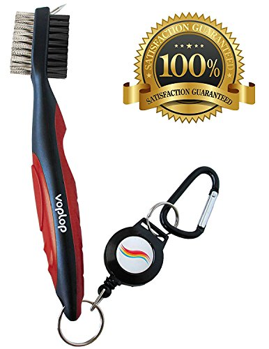 Golf Brush and Club Groove Cleaner Easily Attaches to Golf Bag Deep Clean Iron Grooves Cleaning Club Face Bag Clip & Retractable Extension Cord & Perfect Gift Red