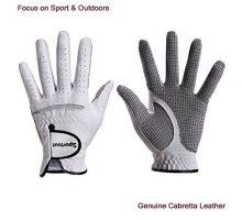 Men CompressionFit StableGrip Genuine Cabretta Leather Golf Glove Super Soft Flexible Wear Resistant and Comfortable White