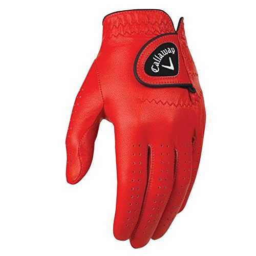 Callaway Golf 2017 Men OptiColor Leather Glove Red Medium Large Worn on Left Hand