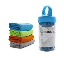 Cooling Towel WuJi Microfiber Towels for Instant Relief Sports Towel Headwear for Golf Swimming Football Workout Gym 40″x12″ Travel Towel for SweatBlue
