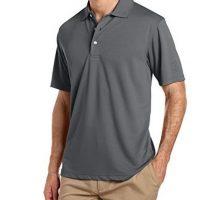 PGA TOUR Men Short Sleeve Airflux Solid Polo Asphalt XLarge