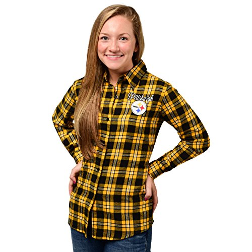 Pittsburgh Steelers 2016 Wordmark Basic Flannel Shirt  Womens Small