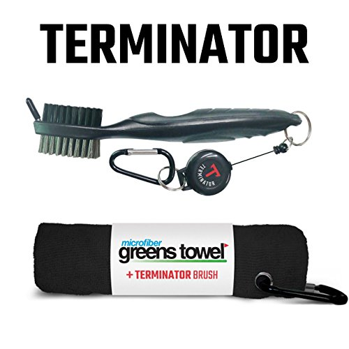 Greens Towel Plus Terminator Club Brush 2 on victory golf cart bag