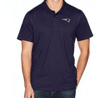 NFL New England Patriots Men OTS Sueded Short Sleeve Polo Shirt Light Navy Large