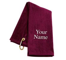 TriFold Personalized Golf Towel  Burgundy