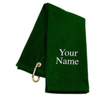 TriFold Personalized Golf Towel  Green