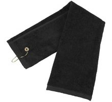 Zelta Trifold Golf Towel with Carabineer Bag Clip Cotton Terry Cloth Black 16 x 25 Inch