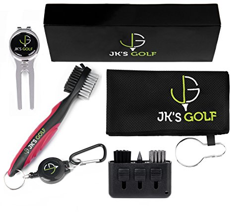 Golf Brush Kit  Golf club cleaner set  2x Golf Club Brushes Microfiber Towel Club Groover Divot Tool Ball Marker & Clip  3in1 Pocket Brush  Golf Accessories & Cleaner Gift Set