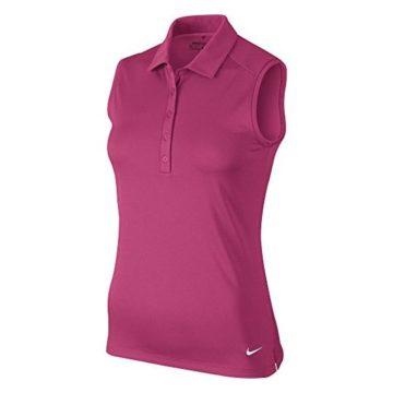 NIKE Women Dry Sleeveless Victory Polo Vivid Pink White Large
