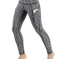ODODOS High Waist Out Pocket Yoga Pants Tummy Control Workout Running 4 Way Stretch Yoga LeggingsSpaceDyeBlackXXLarge