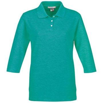 Tri Mountain Women 3 4Sleeve Pique Knit Golf Shirt