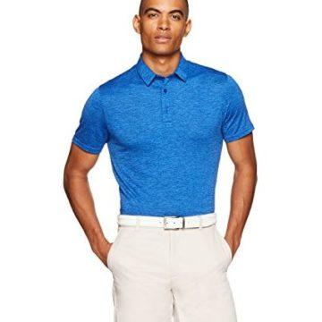 Amazon Essentials Men's Tech Stretch Polo Shirt Royal Blue Heather Large