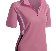 CLOVERY Quick Drying Active Wear Short Sleeve Zipup POLO Shirt PINK US M   Tag M