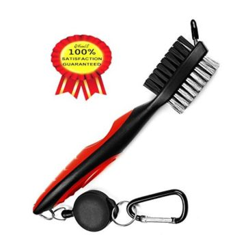 Golf Club Brush 2 Ft Retractable Club Groove Cleaner with Zipline Aluminum Carabiner Lightweight and Stylish Ergonomic Design Easily Attaches to Golf Bag