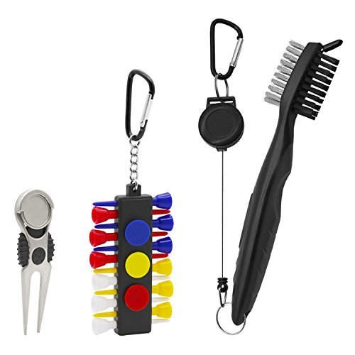 Golf Club Brush Cleaner Golf Divot Repair Tool Ball Marker Golf Tee Pack