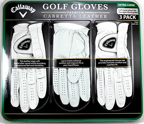 Callaway Premium Cabretta Leather Golf Gloves Large 3Pack