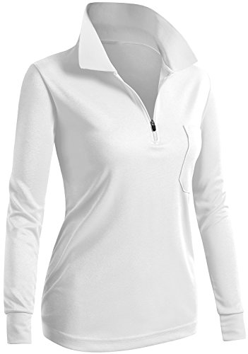 CLOVERY Golf Wear Moisture Wicking Long Sleeve Zipup POLO Shirt WHITE US M   Tag M