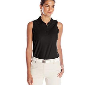 Greg Norman Collection Women Protek Micro Pique Sleeveless Polo Shirt Black Large