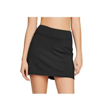 Cityoung Women Casual Pleated Golf Skirt with Underneath Shorts Running Skorts l black1