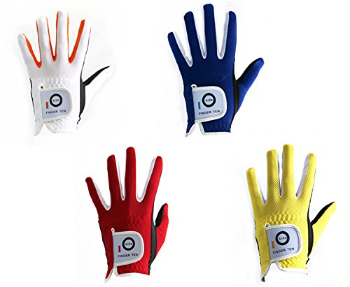 Finger Ten Junior kids Dura Feel White Blue Red Yellow Golf Gloves Extra Value 2 Pack