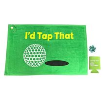 Giggle Golf I'd Tap That Golf Towel & Poker Chip With An I'd Tap That Koozie