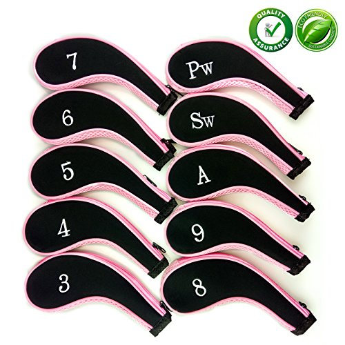 Golf Club Head CoversZippered Headcovers for Golf Clubs Iron Covers with Interchangeable Number Tag 10Pcs Aree