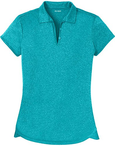 Joe USA DRIEquip(tm) Ladies Heathered Moisture Wicking Golf PoloTropicBlue3XL