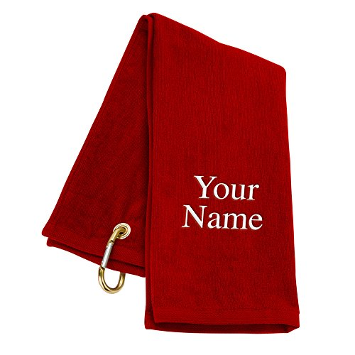 TriFold Personalized Golf Towel  Red