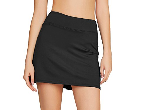Cityoung Women Casual Pleated Golf Skirt with Underneath Shorts Running Skorts m black1