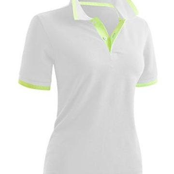 CLOVERY Women Neon Color Design Short Sleeve PK Polo Shirts White US L Tag L