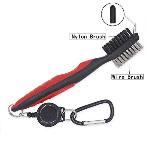 JZHY 2 Pack Golf Club Brush Lightweight 2Ft Retractable Golf Brush and Club Groove Cleaner with Zipline Aluminum Carabiner(Red&Blue)