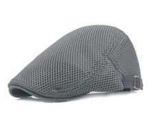 Men Breathable mesh Summer hat Newsboy Beret Ivy Cap Cabbie Flat Cap Grey One Size Fits Most