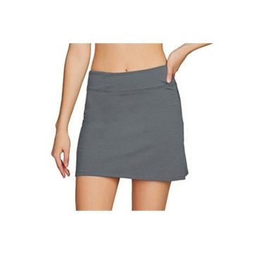Cityoung Women Casual Pleated Golf Skirt with Underneath Shorts Running Skorts s grey1