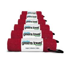 Greens Towel 6 Pack Cardinal Red Microfiber 16″ X 16″ with Carabiner Clip The Convenient Golf Towel