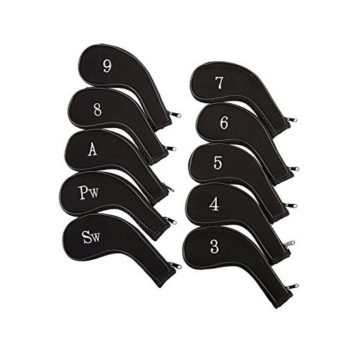 HDE Neoprene Zippered Golf Club Iron Covers  Set of 10