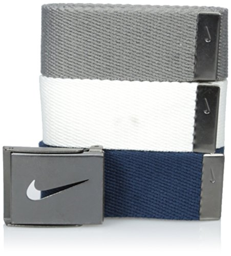 Nike Men 3 Pack Web White Gray Navy One Size