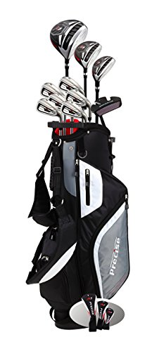 Precise Top Line Men M5 Golf Club Set Left Handed Only Includes Driver Wood Hybrid 5 6 7 8 9 PW Stainless Steel Irons with True Temper Steel Shaft Putter Stand Bag & 3 Headcovers