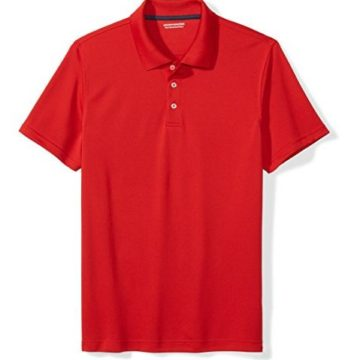 Amazon Essentials Men Standard SlimFit QuickDry Golf Polo Shirt Red Large