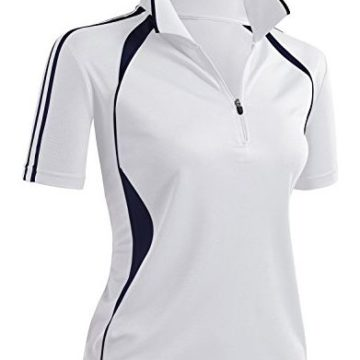 CLOVERY Wicking Material Clothing Functional Fabric Short Sleeve Zipup Polo Shirt White US L Tag L