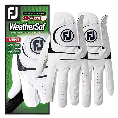 FootJoy WeatherSof 2Pack Golf Gloves 2018 Regular White Black Fit to Left Hand Large