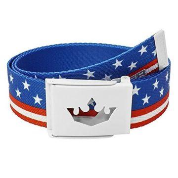 Meister Player Golf Web Belt  Adjustable & Reversible  American Flag