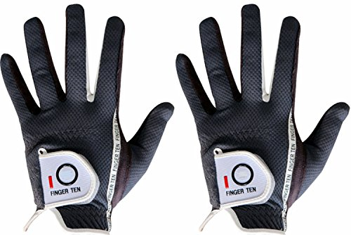 Men's Golf Glove Rain Grip Pair both hand or 2 Pack Left Right Hand Hot Wet Weather No Sweat Black Gray Green Fit Size Small Medium Large XL By Finger Ten