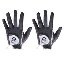 Men Golf Glove Left Hand Right 2 Pack Hot Wet Rain Grip Black Gray Fit Small Medium Large XL By Finger Ten
